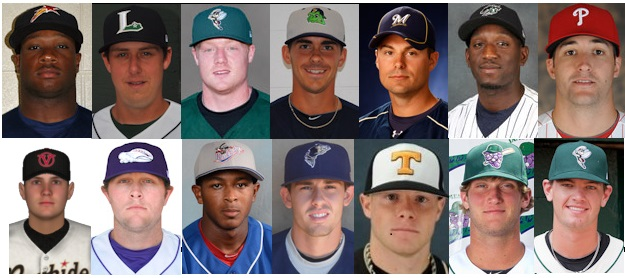 A composite image of the 14 former Vols in 2013 minor league baseball.